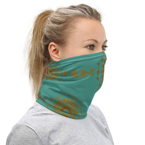 Face Covering-Blue gold Graphic Print Print Neck Gaiter-Midnight Sheetcake