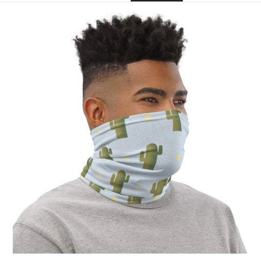 Face Covering-Blue Green Cactus Print Neck Gaiter-Midnight Sheetcake