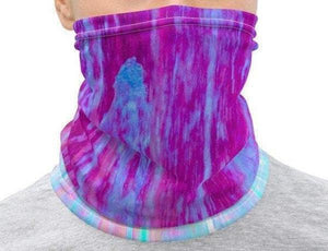 Face Covering-Blue Purple Abstract Painting Print Neck Gaiter-Midnight Sheetcake