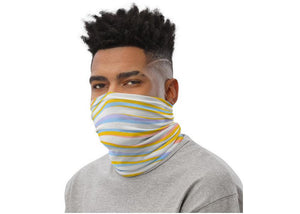 Face Covering-Blue Yellow Wave Print Neck Gaiter-Midnight Sheetcake