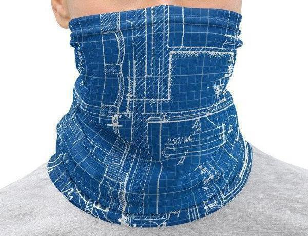 Face Covering-Blueprint Illusion Print Neck Gaiter-Midnight Sheetcake
