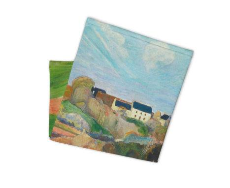 Face Covering-Cézanne's Landscape at Le Pouldu Painting Neck Gaiter-Midnight Sheetcake
