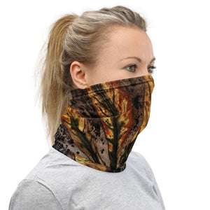 Face Covering-Chestnut leaf by Julie de Graag Design Neck Gaiter-Midnight Sheetcake