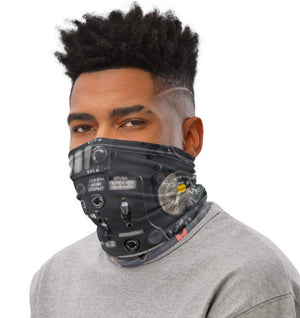 Face Covering-Cockpit Dial Illusion Print Neck Gaiter-Midnight Sheetcake