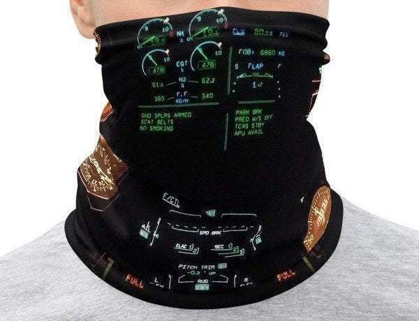 Face Covering-Cockpit Pilot Neon Lights Print Neck Gaiter-Midnight Sheetcake