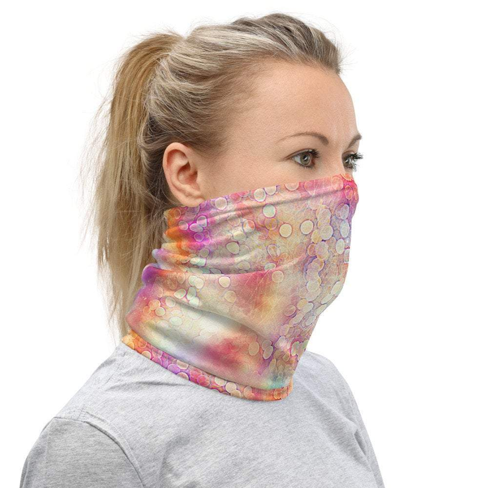 Face Covering-Colorful Bubbles Print Neck Gaiter-Midnight Sheetcake