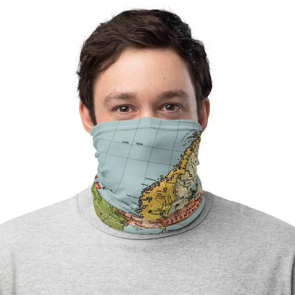 Face Covering-Colorful European Map, Bacon's standard map of Europe Print Neck Gaiter-Midnight Sheetcake