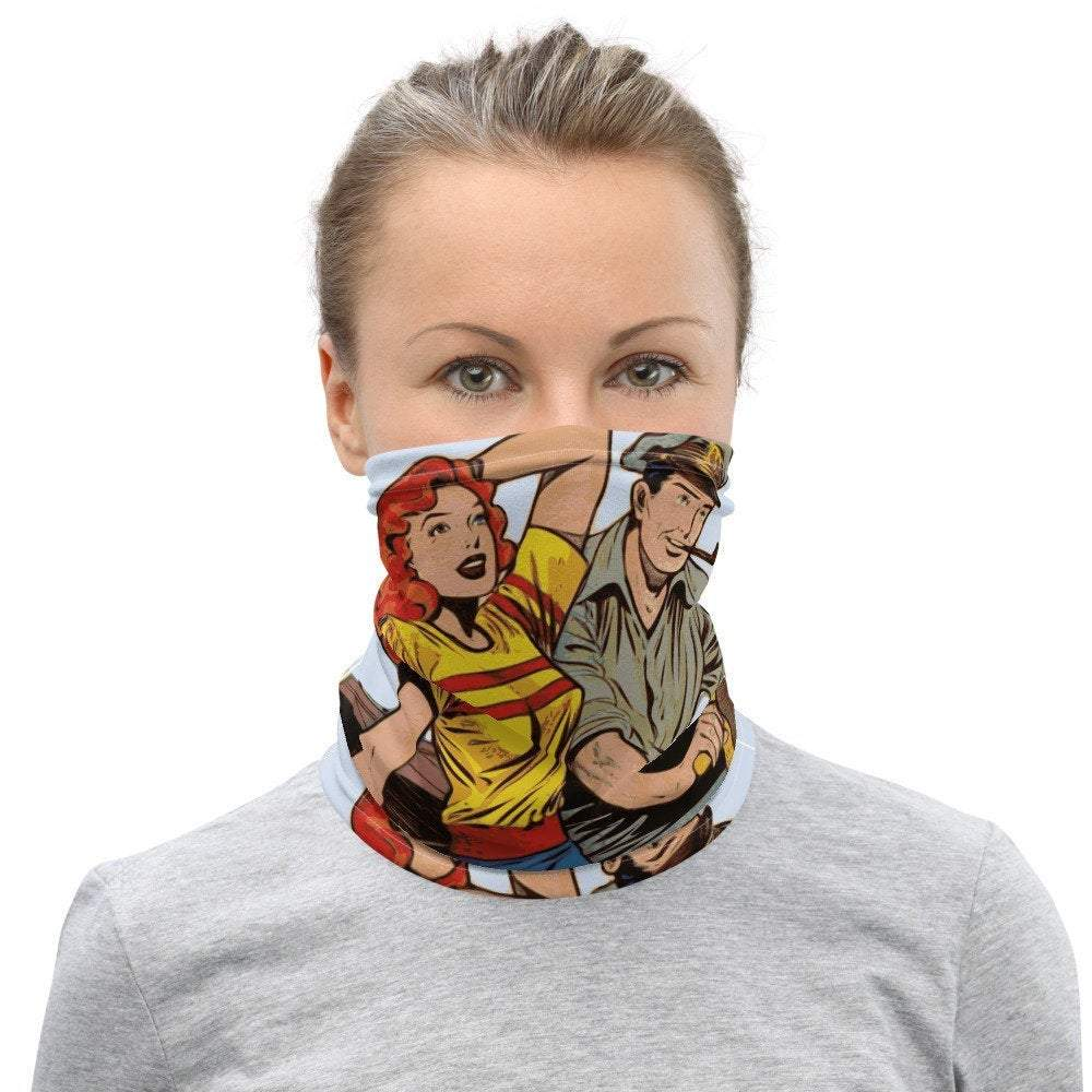 Face Covering-Comic Book Illustration Neck Gaiter-Midnight Sheetcake