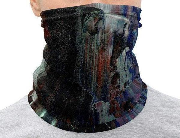 Face Covering-Dark Abstract Paint Illusion Print Neck Gaiter-Midnight Sheetcake