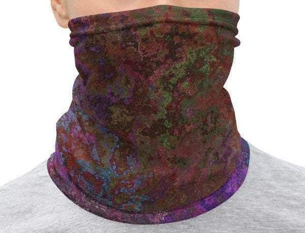 Face Covering-Dark Purple Abstract Paint Illusion-Midnight Sheetcake