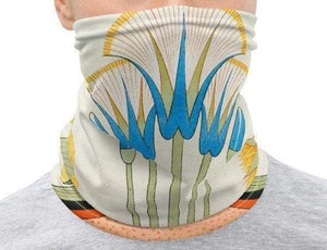 Face Covering-Egyptian Plants and Flowers Design Neck Gaiter-Midnight Sheetcake