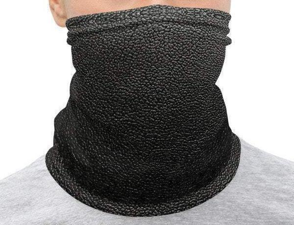 Face Covering-Faux Black Leather Illusion Print Neck Gaiter-Midnight Sheetcake