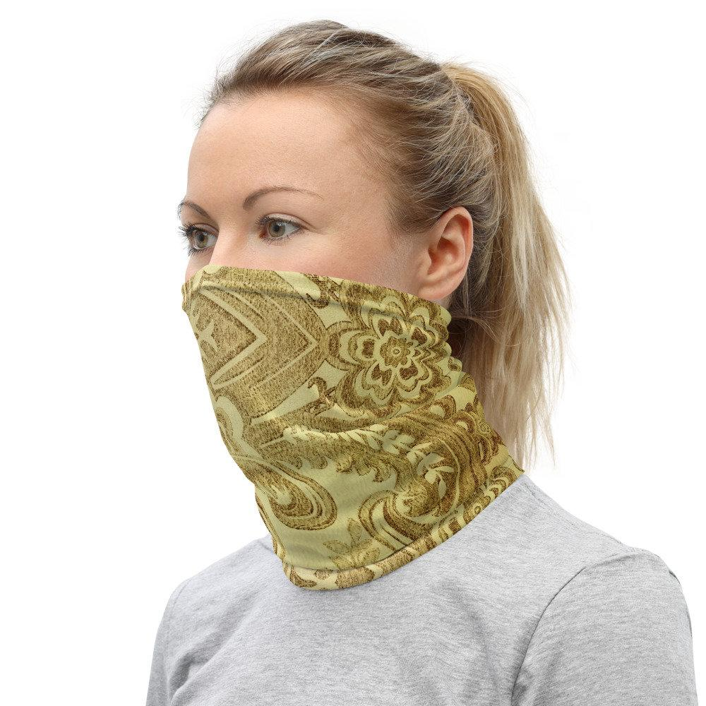 Face Covering-Faux Gold Damask Illusion Neck Gaiter-Midnight Sheetcake