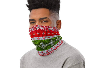 Face Covering-Faux Knit Christmas Tree Sweater Print Neck Gaiter-Midnight Sheetcake