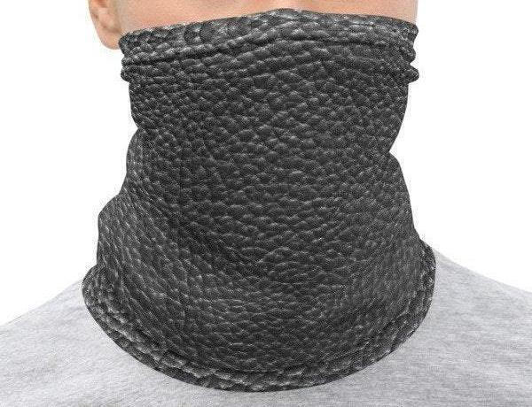 Face Covering-Faux Macro Black Leather Illusion Neck Gaiter-Midnight Sheetcake