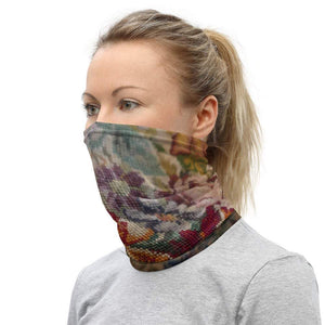 Face Covering-Faux Needlework Illusion Print Neck Gaiter-Midnight Sheetcake