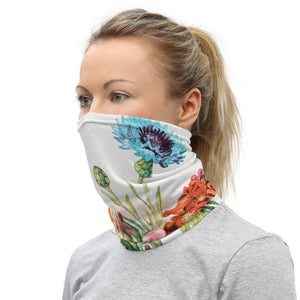 Face Covering-Flower Blue Bottle, Dog Rose and Garden Anemone Tyas Illustration Neck Gaiter-Midnight Sheetcake