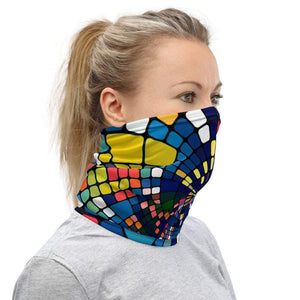 Face Covering-Geometric Rainbow Print Neck Gaiter-Midnight Sheetcake
