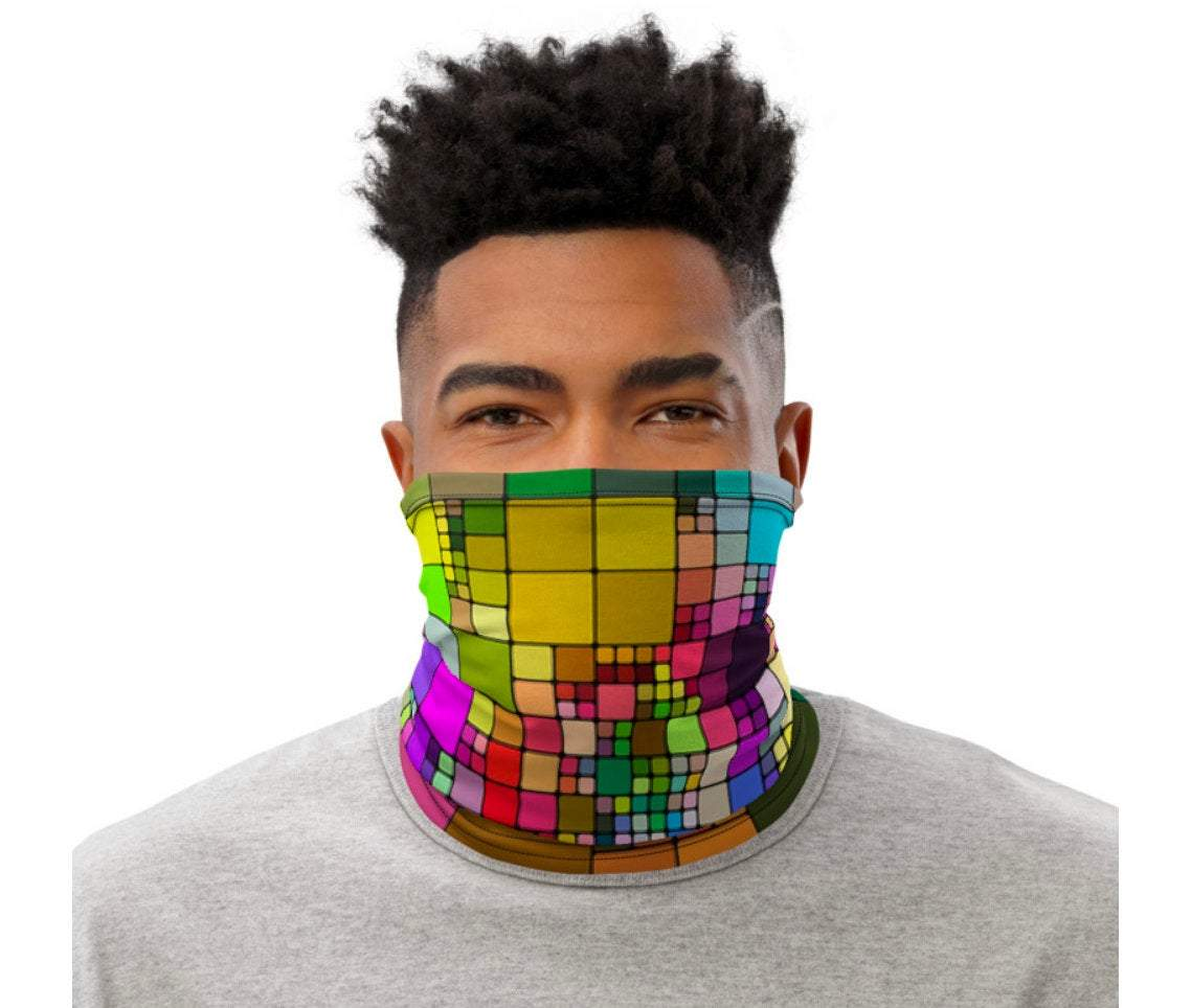 Face Covering-Geometric Square Print Neck Gaiter-Midnight Sheetcake