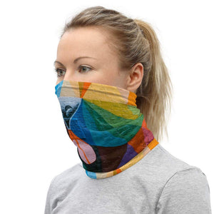 Face Covering-Geometric Street Art Lion Face Print Neck Gaiter-Midnight Sheetcake