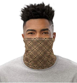 Face Covering-Gold Tan Ornamental Print Neck Gaiter-Midnight Sheetcake
