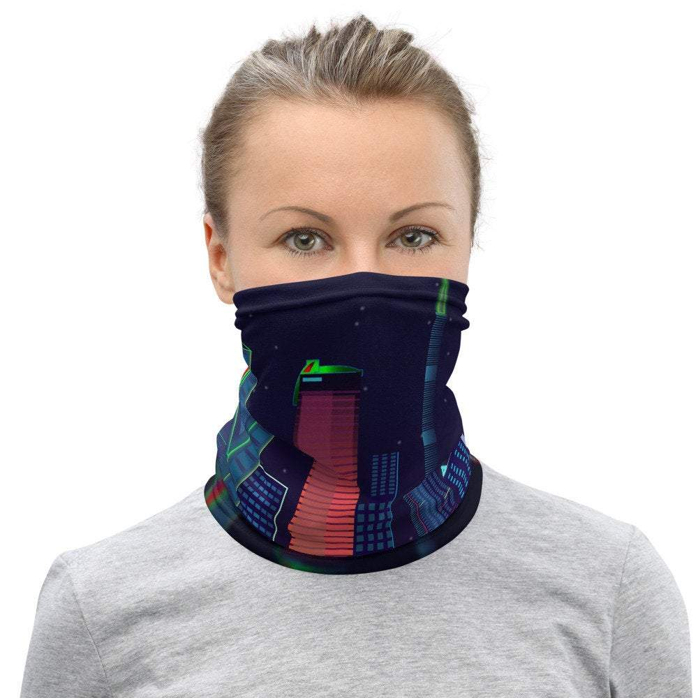 Face Covering-Graphic City Night Skyline Print Neck Gaiter-Midnight Sheetcake