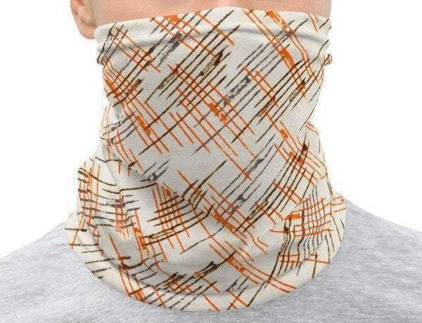 Face Covering-Graphic Orange Cross Hatch Design Neck Gaiter-Midnight Sheetcake