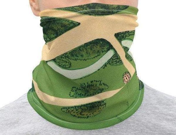 Face Covering-Green and Beige Ground Map Design Neck Gaiter-Midnight Sheetcake