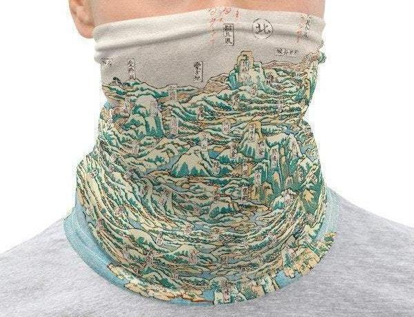 Face Covering-Green and Blue Neck Gaiter, 18th Century Map of China Illustration-Midnight Sheetcake