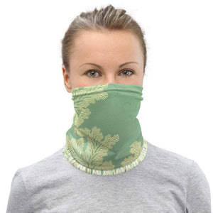 Face Covering-Green Botanical Print Neck Gaiter-Midnight Sheetcake