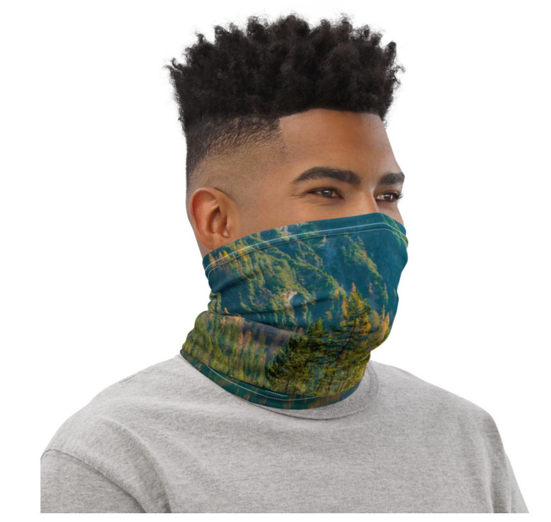 Face Covering-Green River Reflection Photo Print Neck Gaiter-Midnight Sheetcake