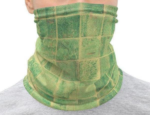 Face Covering-Green Tile Geometric Print Neck Gaiter-Midnight Sheetcake