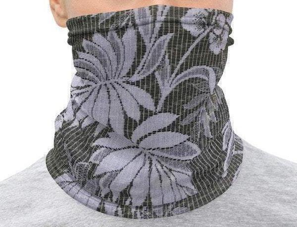 Face Covering-Grey and Purple Floral Print Neck Gaiter-Midnight Sheetcake