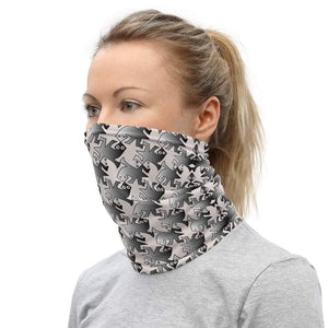 Face Covering-Greyscale Tessellation Print Neck Gaiter-Midnight Sheetcake
