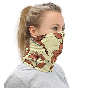 Face Covering-Hummingbird and Flower Print Neck Gaiter-Midnight Sheetcake