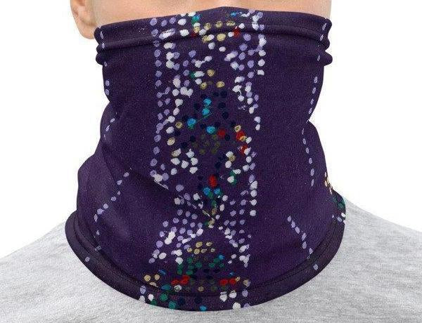 Neck Gaiter Face Cover: Purple Japanese Woodblock Textile Motif Sublimation Printed on Stretch Fabric *MADE-to-ORDER* reusable washable - Midnight Sheetcake