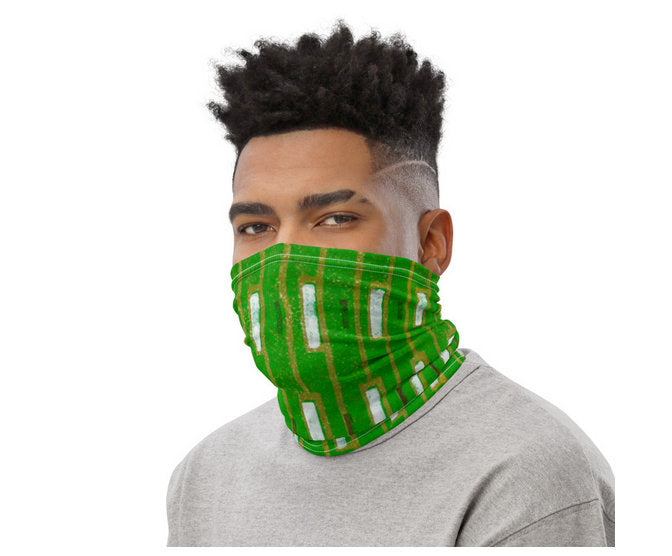 Neck Gaiter Face Cover: Green Japanese Woodblock Textile Motif Sublimation Printed on Stretch Fabric *MADE-to-ORDER* reusable washable - Midnight Sheetcake