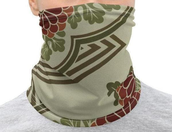 Neck Gaiter Face Cover: Green Geometric Floral Design Printed on Stretch Fabric  *MADE-to-ORDER* reusable washable - Midnight Sheetcake