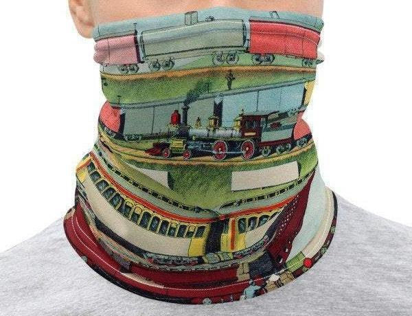 Neck Gaiter Face Cover:  Colorful  Zig-zag Passenger and Freight Train Design Printed on Stretch Fabric  *MADE-to-ORDER* reusable washable - Midnight Sheetcake