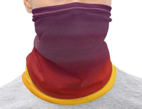 Mask Gaiter Face Neck Cover: Pink Orange Purple Sunset Sky Gradient Photo Printed on Stretch Fabric *MADE-to-ORDER* reusable washable - Midnight Sheetcake