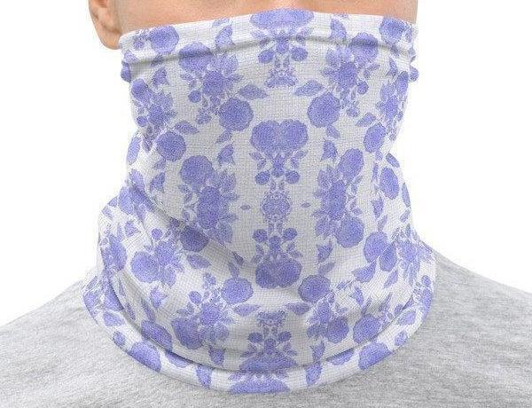 Face Covering-Light Blue Purple Floral Print Neck Gaiter-Midnight Sheetcake