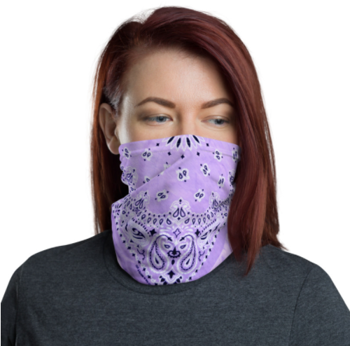 Face Covering-Light Purple Faux Vintage Bandana Illusion Print Neck Gaiter-Midnight Sheetcake