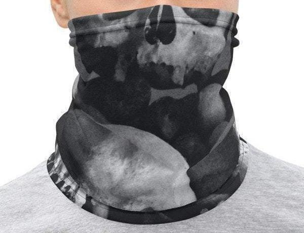 Face Covering-Macabre Crypt Skulls Print Neck Gaiter-Midnight Sheetcake