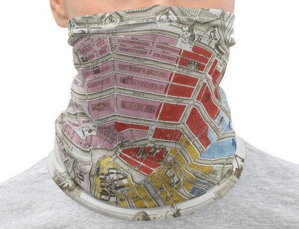Face Covering-Map of Amsterdam Neck Gaiter-Midnight Sheetcake