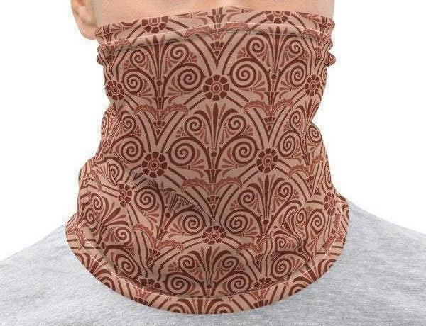 Face Covering-Mauve Pink Geometric Print Neck Gaiter-Midnight Sheetcake