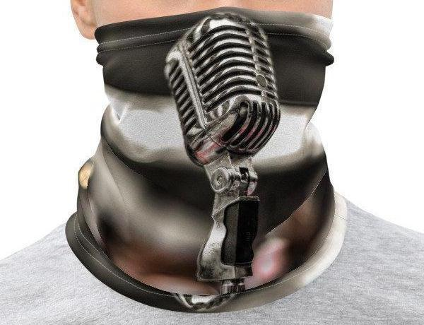 Face Covering-Microphone Stand up Podcaster Print Neck Gaiter-Midnight Sheetcake