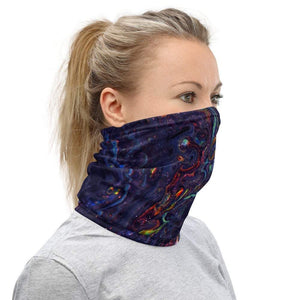 Face Covering-Mineral Swirl Print Neck Gaiter-Midnight Sheetcake