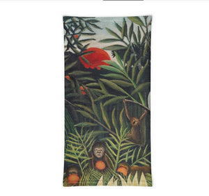 Face Covering-Monkeys and Parrot Painting Neck Gaiter, by Rousseau-Midnight Sheetcake