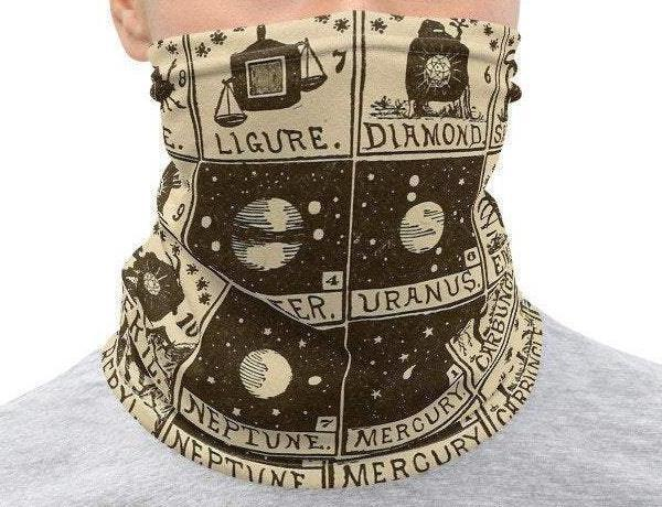 Face Covering-Mystic Text Book Antique Bookplate Print Neck Gaiter-Midnight Sheetcake