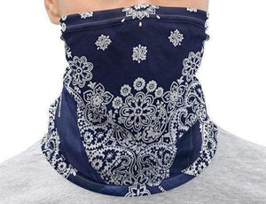 Face Covering-Navy Faux Vintage Bandana Illusion Print Neck Gaiter-Midnight Sheetcake